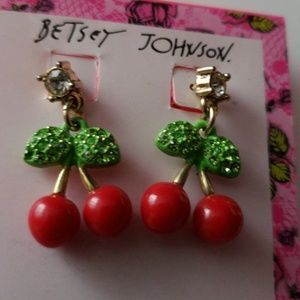 BETSEY JOHNSON CHERRIES EARRINGS